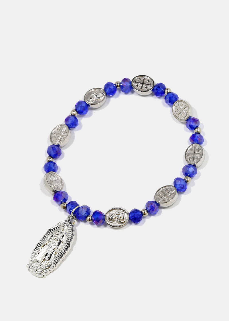 Virgin Mary Charm Beaded Bracelet