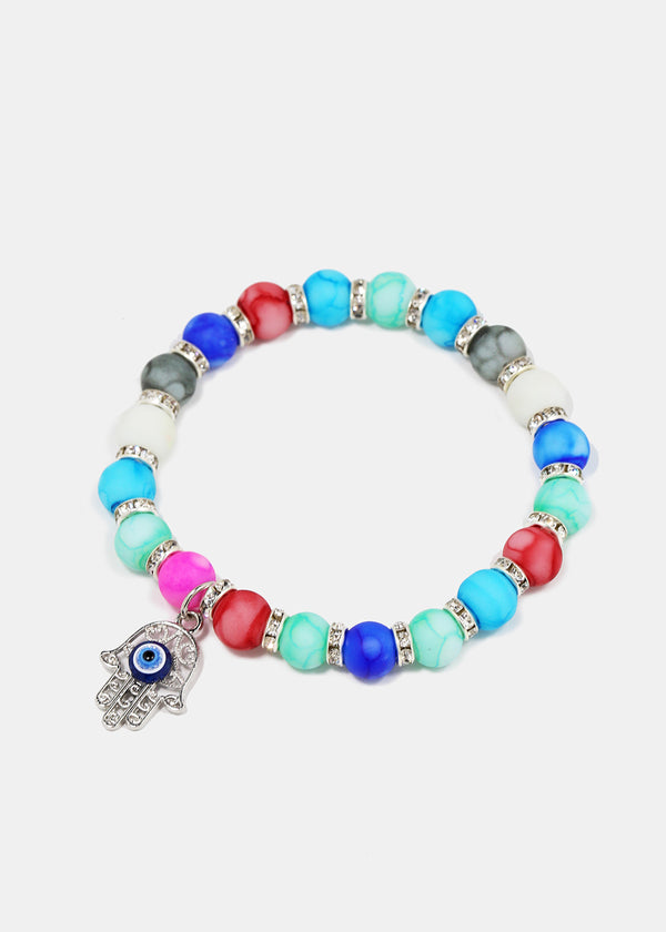 Watercolor Bead Hamsa Hand Bracelet