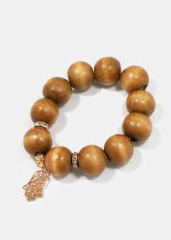 Cross & Hamsa Hand Wood Bead Bracelets