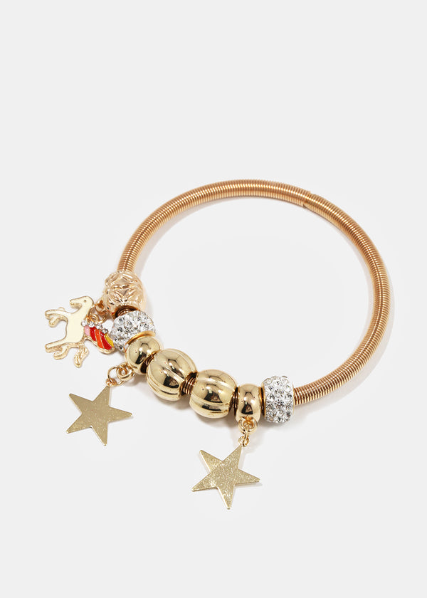 Stars & Winged Horse Coil Bangle