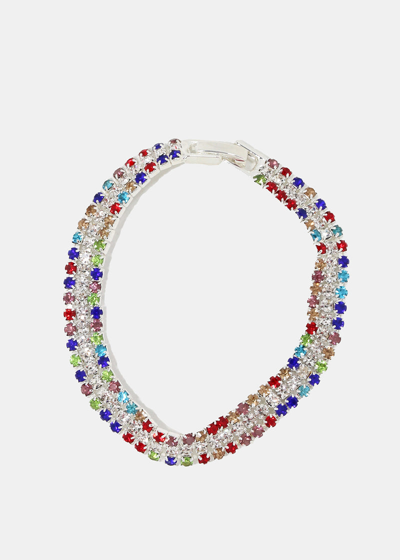 Stacked Multi-Color Rhinestone Bracelet