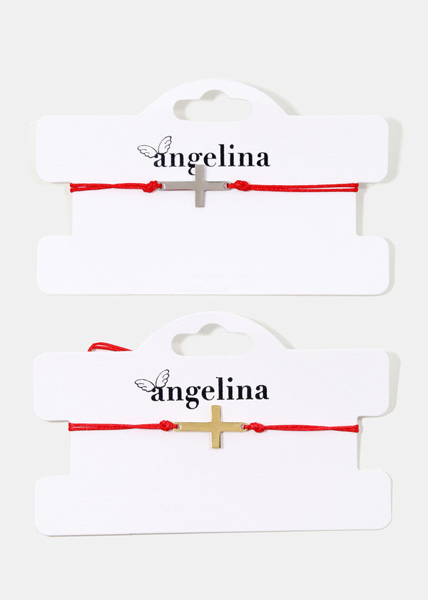 Cross Red Drawstring Bracelet