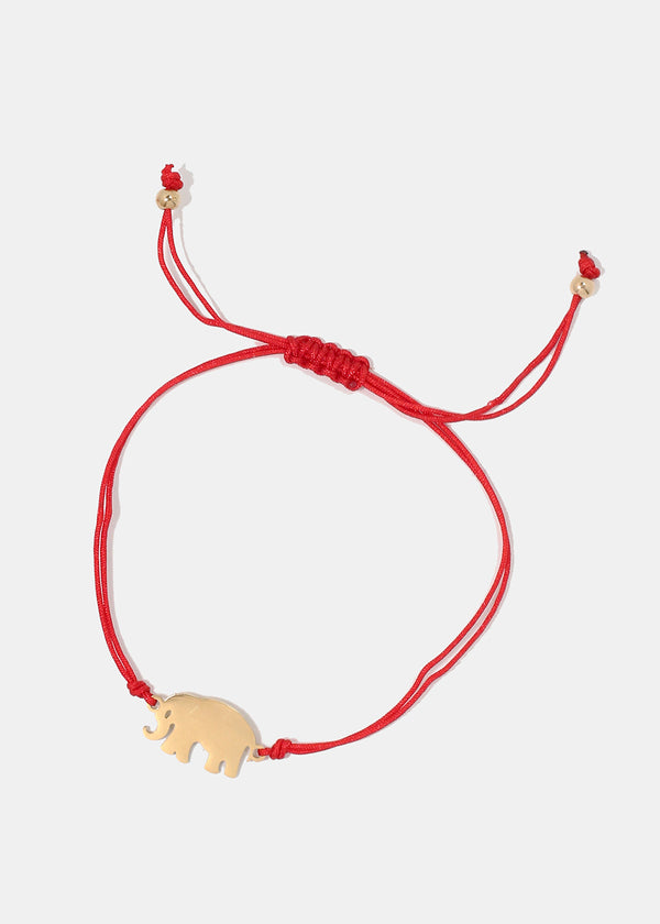 Elephant Red Drawstring Bracelet