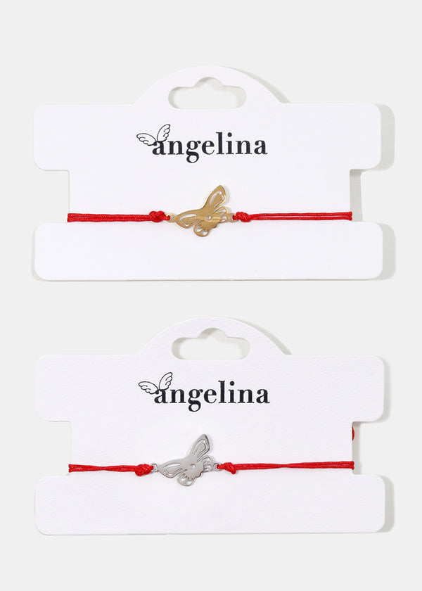 Butterfly Red Drawstring Bracelet