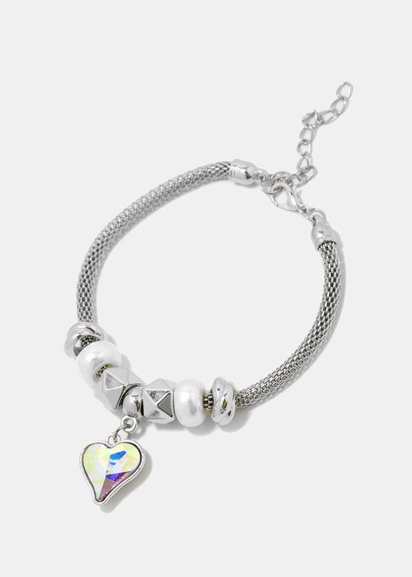 Gemstone Heart Mesh Chain Bracelet