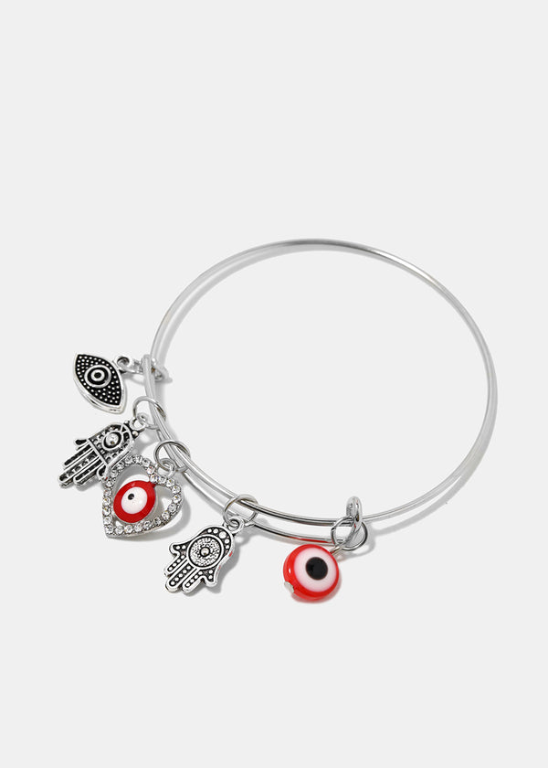 Hamsa Hand & Evil Eye Charm Bangle