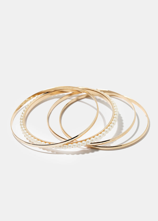 4-Piece Pearl Mixed Bangle Set