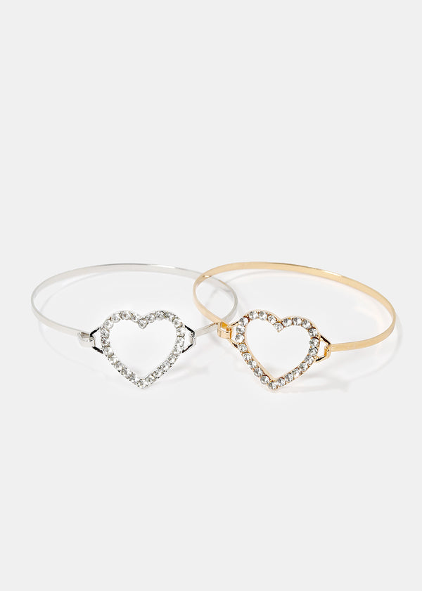 Rhinestone Heart Bangle