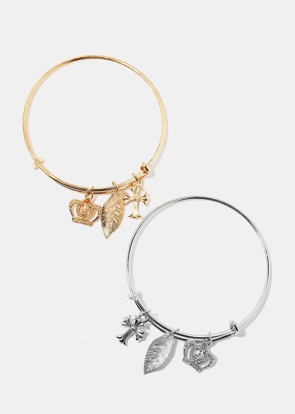 Cross & Crown Charm Bangle Bracelet