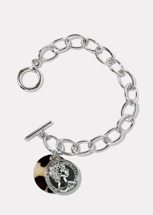 Coin Chain Link Toggle Bracelet