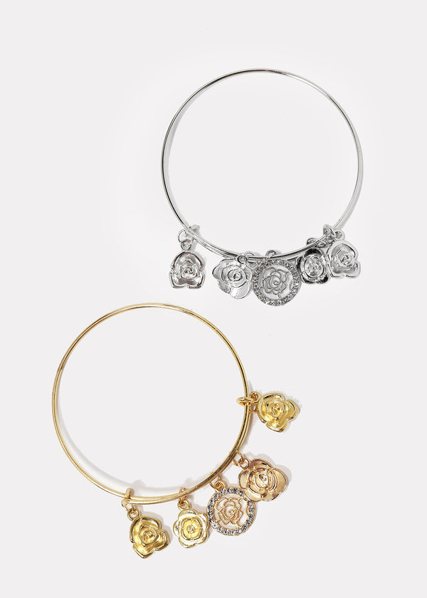 Rose Dangle Charm Bangle