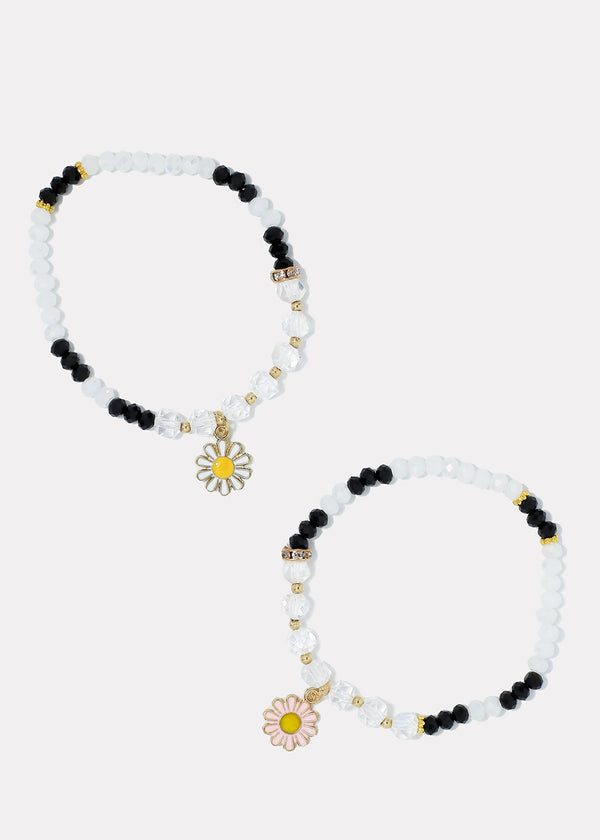 Beaded Bracelet With Flower Dangle
