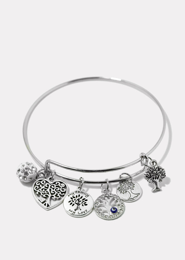 Tree Dangle Charm Bangle Bracelet