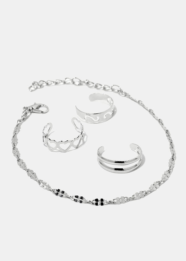 Chain Anklet & Toe Ring Set