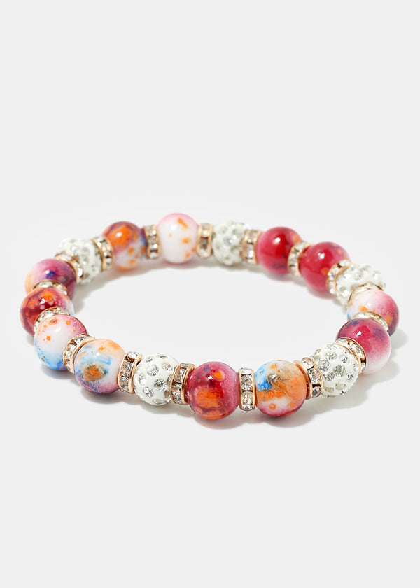 Colorful Rhinestone Beaded Bracelet