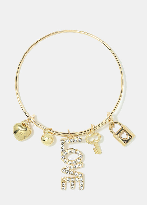 "Rhinestone ""LOVE"" Bangle Bracelet"