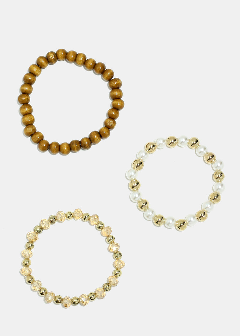 3-Piece Wooden & Pearl Beaded Bracelets