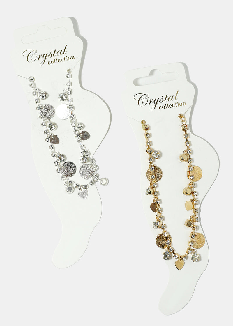 Disc & Heart Charm Anklet