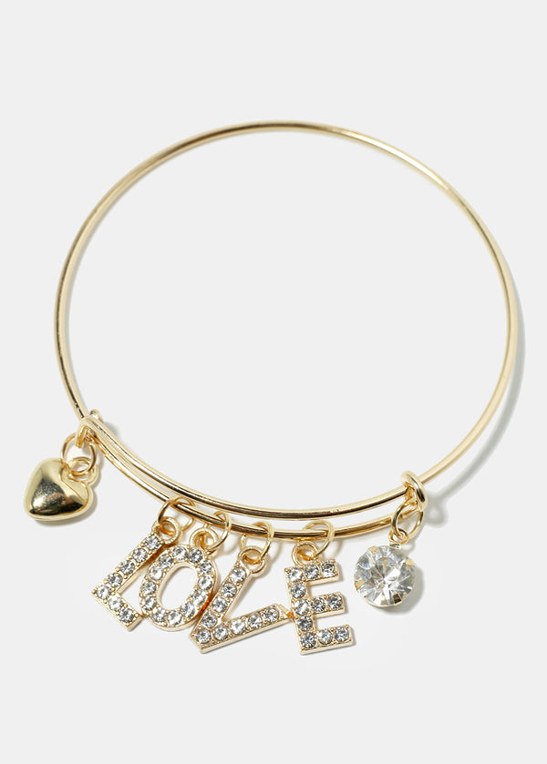 "Rhinestone Studded ""LOVE"" Bangle Bracelet"