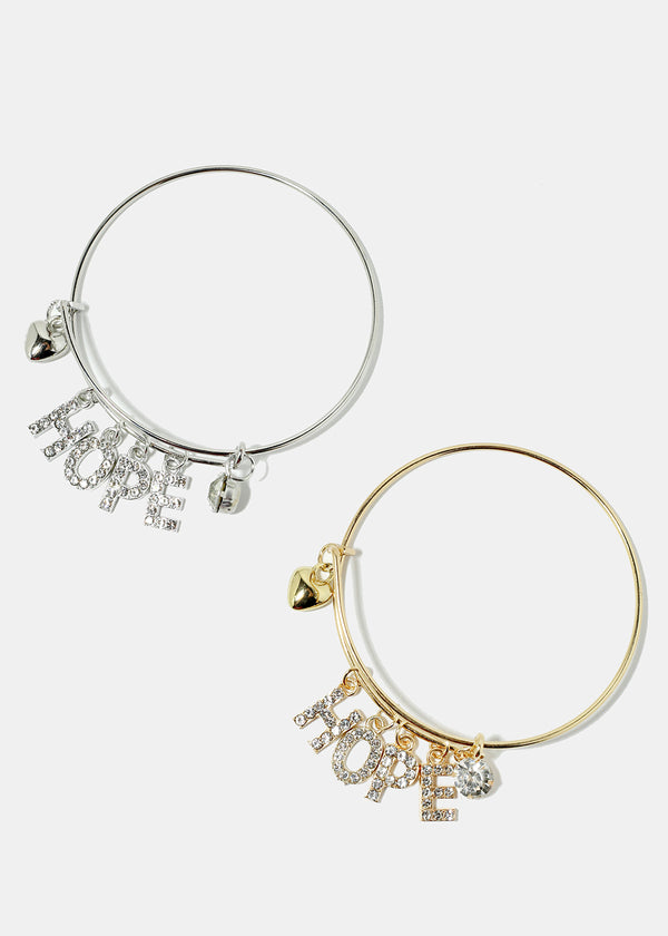 "Rhinestone Studded ""HOPE"" Bangle Bracelet"