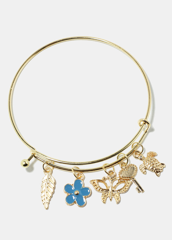 Flower & Turtle Charm Bangle Bracelet
