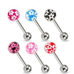 Flower Print Epoxy Ball Tongue Barbell - Pink