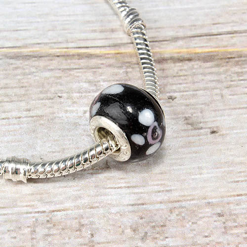 Black Spotted Glass Bead Charm