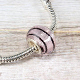 Light Pink Glass Striped Bead Charm