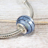 Blue Glass Striped Bead Charm