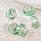 Light Green Crystal  Bead Charm
