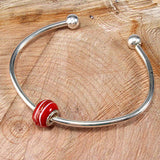Red Swirl Glass Bead Charm