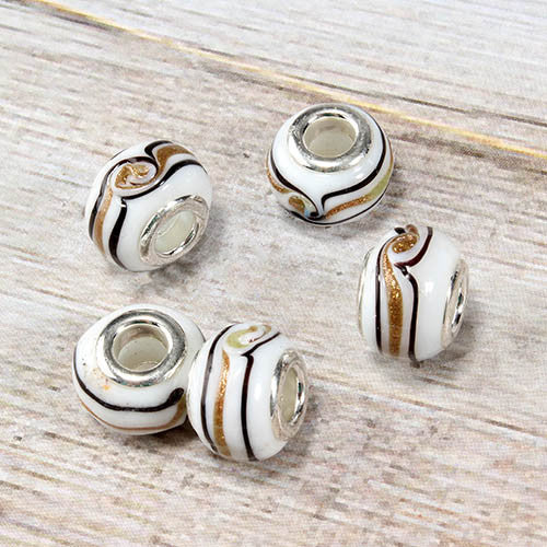 White Glass Striped Bead Charm