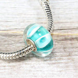 Aqua Glass Stripe Bead Charm