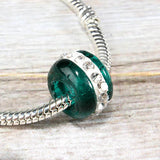 Green & White Crystal Glass Bead Charm