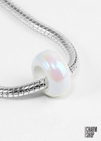 White Pearlescent Bead Charm