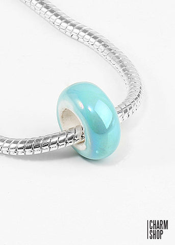 Teal Pearlescent Bead Charm