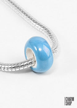 Blue Pearlescent Bead Charm