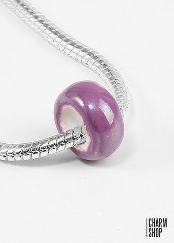 Purple Pearlescent Bead Charm