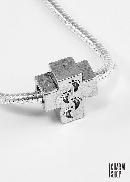 Cross Baby Footprints Bead Charm