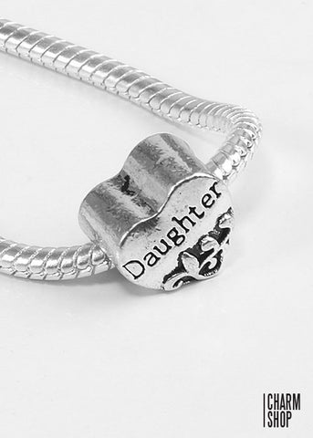 Daughter Heart Bead Charm