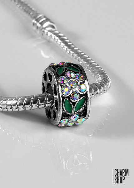 Flower Garden Bead Charm- Rainbow Clear