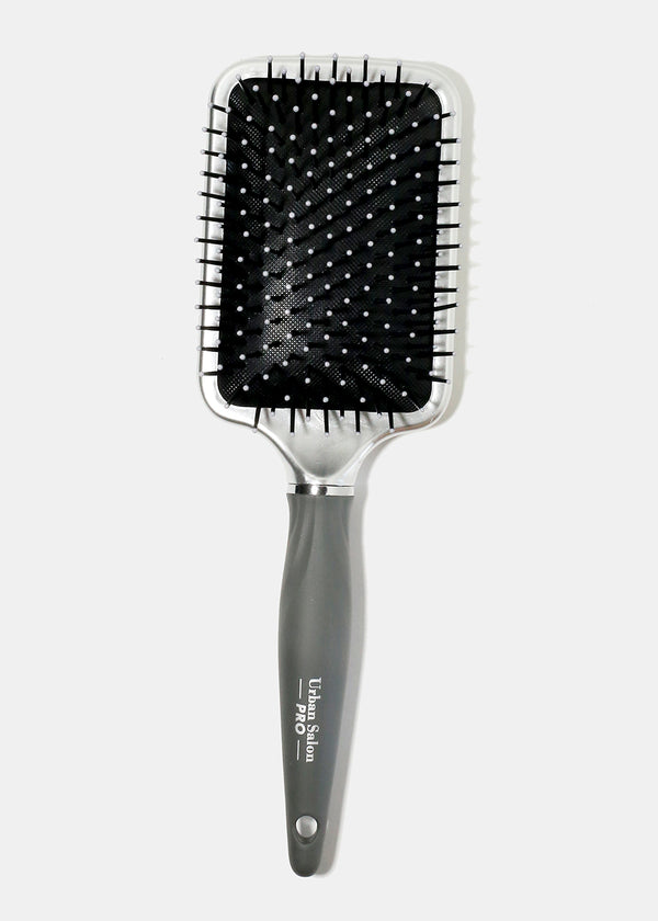 Metallic Silver Paddle Brush