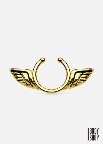 Angel Wings Clip On Septum Ring- Gold