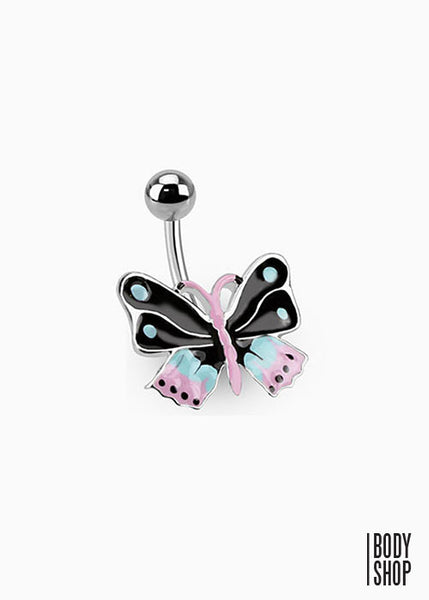 Epoxy Butterfly Bananabell Belly Ring 316L Surgical Steel