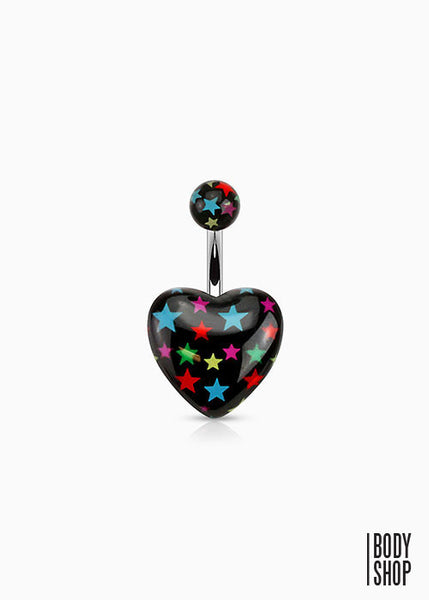 Multi-colored Star on Black Acrylic Heart Print 316L Surgical Steel Navel Ring