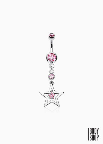 Hollow Star with CZ Center Dangle Navel Ring 316L Surgical Steel