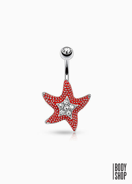 Starfish with CZ Paved Center Navel Ring 316L Surgical Steel