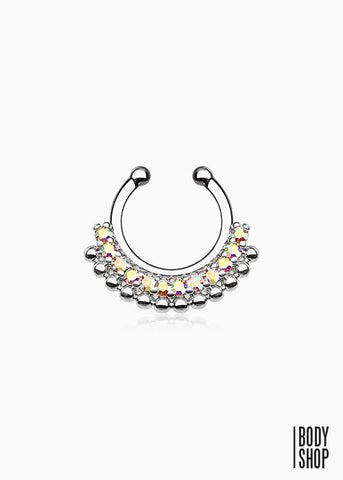 Paved Gem Fan Non-Piercing Septum Hanger