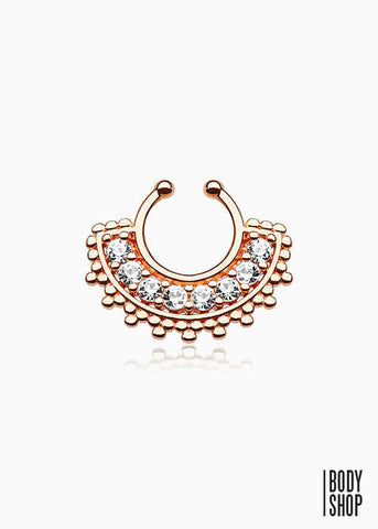 Large Paved Gem Fan Rose Gold IP Non-Piercing Septum Hanger
