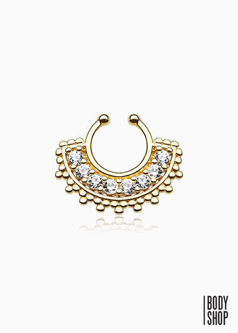 Large Paved Gem Fan Gold IP Non-Piercing Septum Hanger